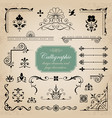 collection of various calligraphic design elements vector image
