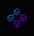 colorful blockchain technology line icon or vector image vector image