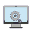 computer screen with gears vector image vector image