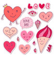 cute girly stickers cartoon doodle hearts vector image vector image