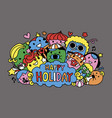 cute monster and friends are on holiday vector image vector image