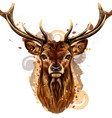deer artistic colored hand-drawn portrait vector image vector image