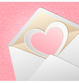 Envelope with paper heart inside vector image vector image