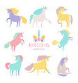 fairytale unicorn set rainbow color girlish pony vector image vector image