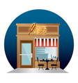 fast food facade building with neon label vector image vector image