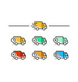 fast shipping delivery truck set of line icons vector image