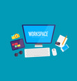 flat design workspace background vector image vector image
