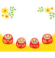 four daruma doll with flower decorate in white vector image vector image