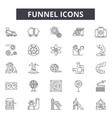 funnel line icons signs set outline vector image vector image