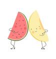 funny cartoon fruit watermelon and melon vector image vector image