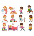 girl and boy collection set vector image