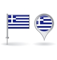 Greek pin icon and map pointer flag vector image