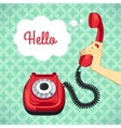 Hand holding old telephone vector image vector image