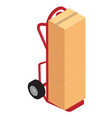 hand truck with brown cardboard boxes package vector image vector image