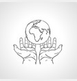 hands holding the earth two palms hold the globe vector image