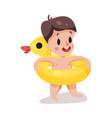 happy boy with inflatable yellow duck buoy kid vector image vector image