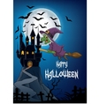 Haunted house with witch flying broom vector image vector image