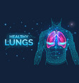 healthy lungs respiratory system disease vector image
