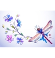 Horizontal card with dragonfly and blue flowers vector image vector image