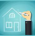 human hand draws a sketch house vector image vector image