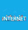 internet concept young people with tablet pc vector image vector image