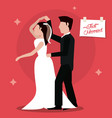 just married dancing couple happy vector image vector image