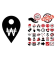 Korean Won Map Marker Flat Icon with Bonus vector image vector image