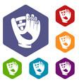 leather baseball glove icons set hexagon vector image vector image