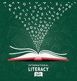 literacy day card concept open book and alphabet vector image