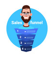 man beard portrait manager sales funnel with steps vector image vector image