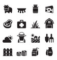 milk farm icons set vector image vector image