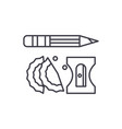 pencil and sharpener line icon concept pencil and vector image vector image