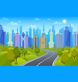 roadside cityscape urban highway with city vector image
