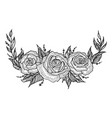 Roses flower frame sketch engraving