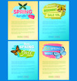 sale spring discount labels on web posters set vector image vector image