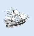 sea ship caravel three masts with sails vector image