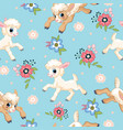 seamless pattern cute little lambs and flowers vector image vector image