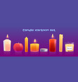 set cartoon candles different shapes isolated vector image