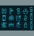 spa set icons blue glowing neon style vector image