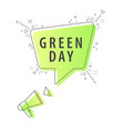 speaker and slogan green day vector image vector image