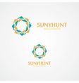 Sun logo with business card template vector image vector image