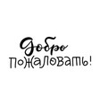 text in russian - welcome lettering cyrillic vector image