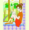 the beautiful girl sitting on a windowsill and vector image vector image
