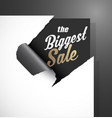 the biggest sale text uncovered from teared paper vector image vector image
