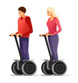 tourists on segways young vector image