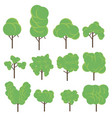tree set flat icon green plant botany design eco vector image vector image