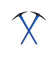 two crossed mattocks in black design with handle vector image