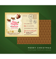 Vintage Christmas and Happy New year postcard vector image