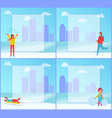 winter activities in city park set of posters vector image vector image