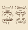 hand drawn western ribbons vintage design vector image